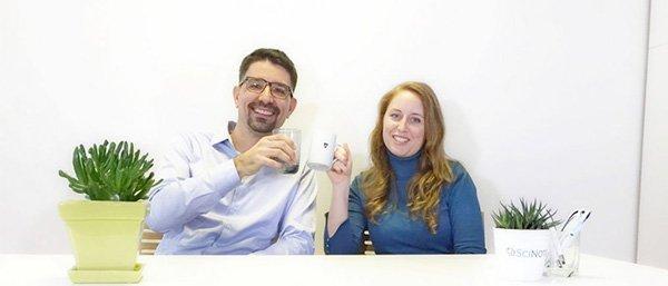 Zala and Matjaz presenting new SciNote functionalities