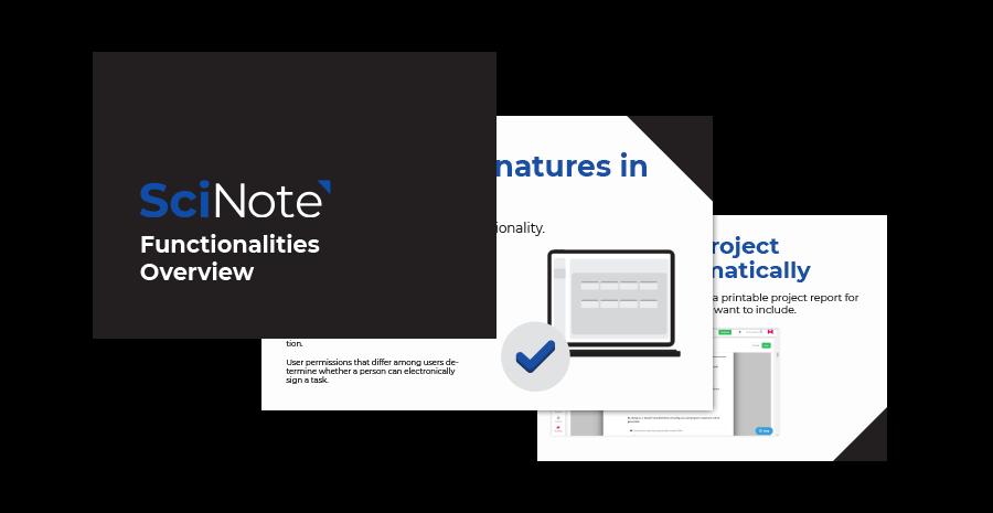SciNote functionalities overview