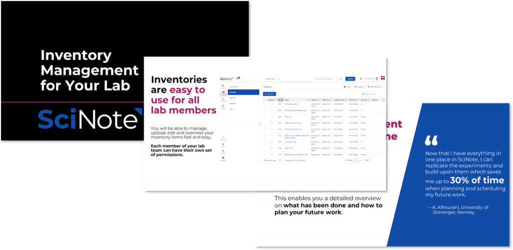 SciNote inventory management guide preview