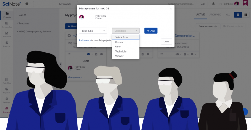 Select roles and manage users in SciNote