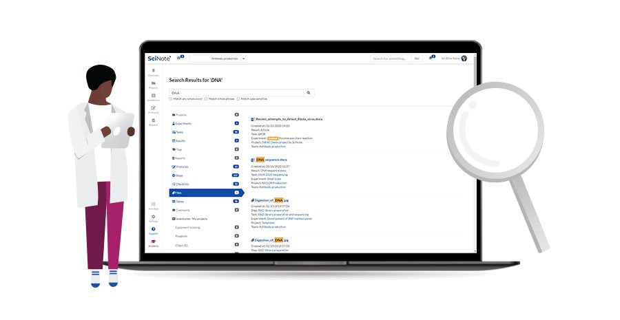 Easily search for data with SciNote