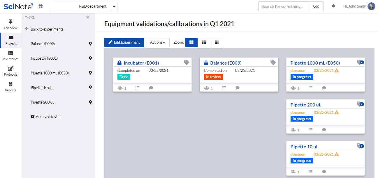 Equipment validations