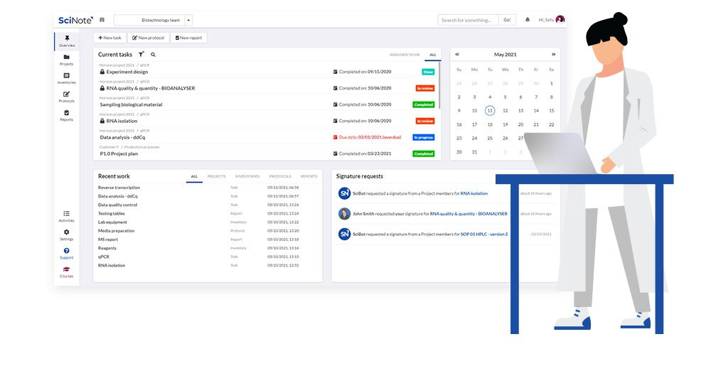 SciNote dashboard
