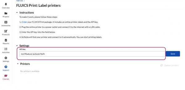 FLUICS print settings