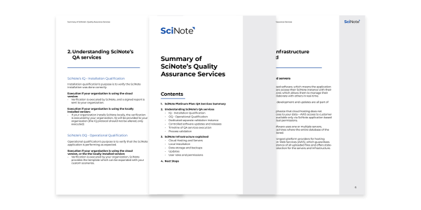 Summary of SciNotes Quality Assurance Services